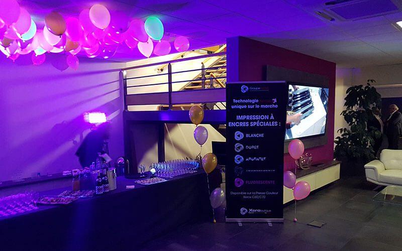 Un afterwork lumineux chez Xeroboutique Nord à Saint André lez Lille pour la sortie officielle de la nouvelle presse couleur XEROX C60 à encres spéciales.