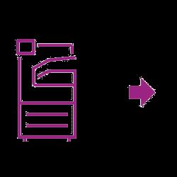 Flèche scanneur icône violette
